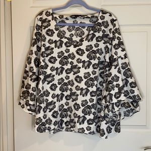 Floral Blouse with Flowing Sleeves